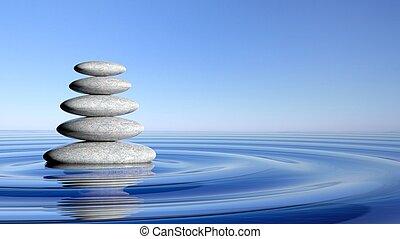 zen, piedras, pila, de, grande, a, pequeño, en, agua, con, circular, ondas, y azul, sky.