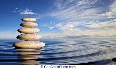 zen, piedras, pila, de, grande, a, pequeño, en, agua, con, circular, ondas, y, pacífico, sky.