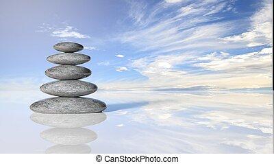 zen, piedras, pila, de, grande, a, pequeño, en, agua, reflejar, pacífico, cielo, con, clouds.