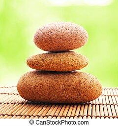 zen, pierre, feuille