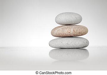 zen, pierres, blanc