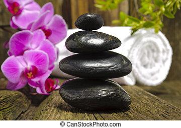 zen, pierres, jardin japonais, empilé