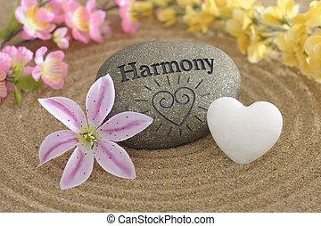 zen, pietra, di, armonia, in, sabbia