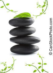 zen, pietre, con, foglie, isolated., terme, fondo