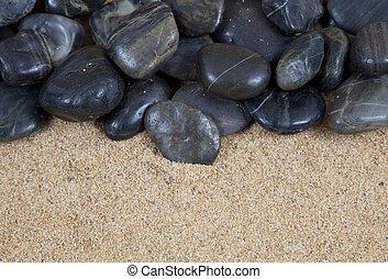 zen, pietre, sabbia, terme, fiume, spiaggia