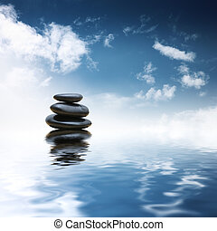 zen, pietre, sopra, acqua