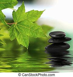 zen, pietre, su, acqua