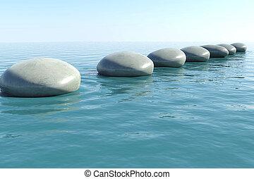 zen, piscina, rocha
