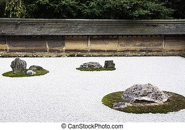 Zen Rock Garden in Ryoanji Temple. In a garden fifteen stones on white gravel. Kyoto. Japan.