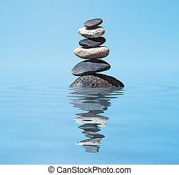 zen, -, rozmyślanie, stóg, zrównoważony, tło, odbicie, kamienie, woda