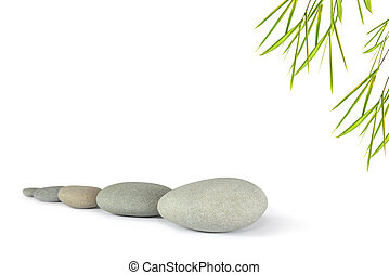 Zen Silence - Zen abstract of five grey stones with bamboo...