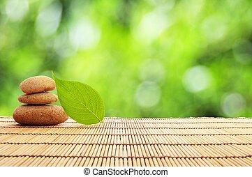 zen, steen, blad