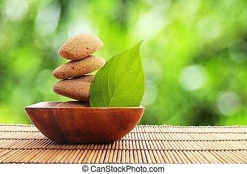 zen, stein, mit, blatt