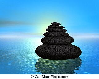 zen, steinen