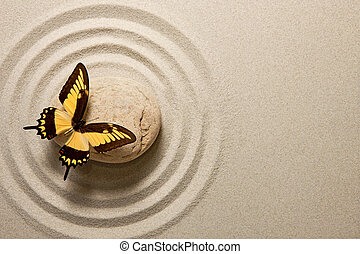 zen, sten, med, fjäril
