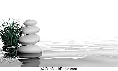 zen, stenar, in de vatten