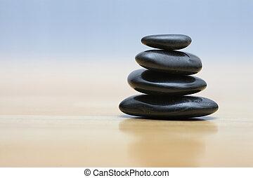 zen, stenen, op, houten, oppervlakte