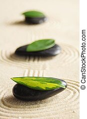 zen still life with sand and green leaf showing wellness...