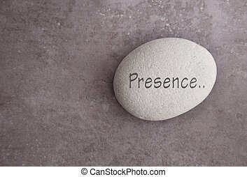 Zen stone presence - Yoga zen stone with the word presence
