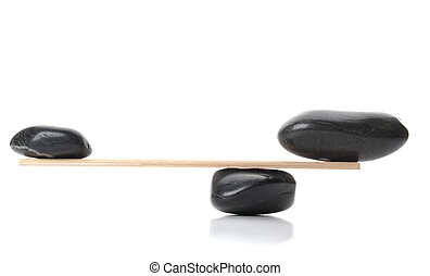 zen stone scales isolated on white background showing spa