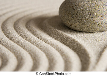 Zen Stone - Stone on raked sand; Mini rock garden.