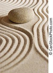 Zen Stone - Stone on raked sand; mini rock garden; Zen ...