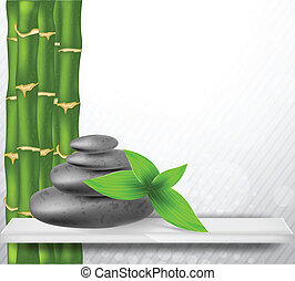 Zen stone with bamboo - Zen stone with green bamboo and...