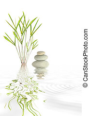 Zen abstract of spa stones and bamboo grass with reflection in rippled water, over white background.