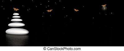 Zen stones and butterflies by night