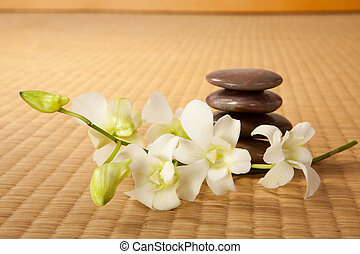 Zen stones and orchids on a traditional japanese tatami mat
