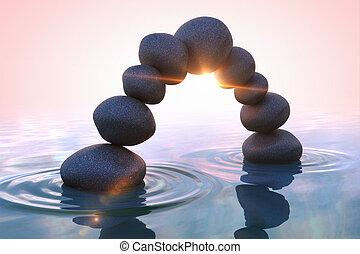 zen, stones., arc