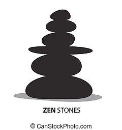 Zen Stones. Black Pebbles Isolated on White Background. Vector Illustration.