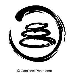 Zen Stones Circle Ink Brush Vector