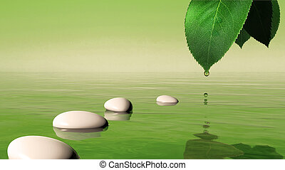Zen stones in the blue water and green leaf with water drop