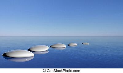 Zen stones in the blue water
