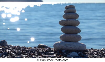 Zen Stones on beach for perfect meditation. Calm zen...