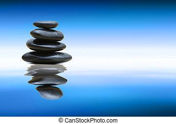 Zen stones over water - Beautiful Blue Water And Sky...