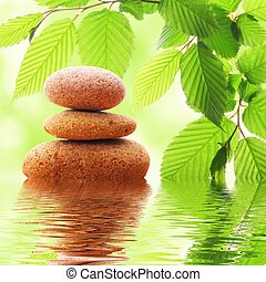 zen stones and green leaves showing spa concept with water...