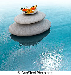 Zen Stones - Zen stones with butterfly on a sea