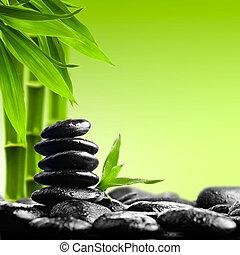 zen stones - zen basalt stones on the black