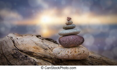 Zen Stones - Zen stones with animated bokeh dots in the...