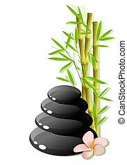 Zen stones - zen stones with plumeria flower on bamboo...