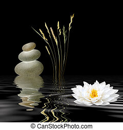Zen Symbols - Zen abstract of grey spa stones, a white lotus...