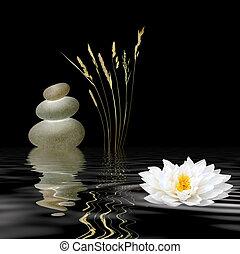 Zen Symbols - Zen abstract of grey spa stones, a white lotus...