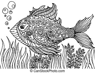 Zen tangle stylized abstract fish, isolated on white background. Hand drawn sketch for adult antistress coloring page, T-shirt emblem, logo, tattoo with doodle.