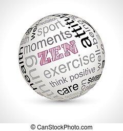 Zen theme sphere with keywords
