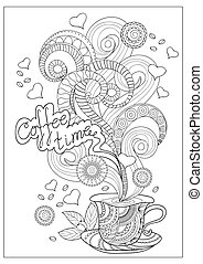 zen time for coffee - Hand drawn decorated cup of coffee...