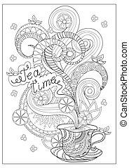 zen time fortime - Hand drawn decorated cup of tea with...