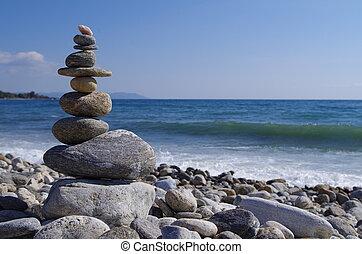 zen, toren, strand