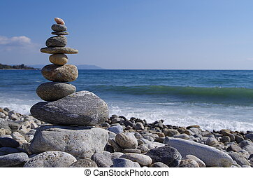 Zen tower at the beach